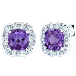 FacetzInspire Real Diamond Lab Amethyst 92.5 Sterling Silver Earring