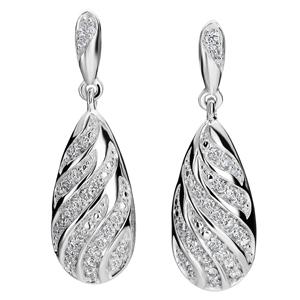 Diamond Earrings-FacetzInspire Real Diamond 92.5 Sterling Silver Earring