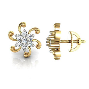 Avsar Real Gold and Diamond Chennai Earrings AVE001