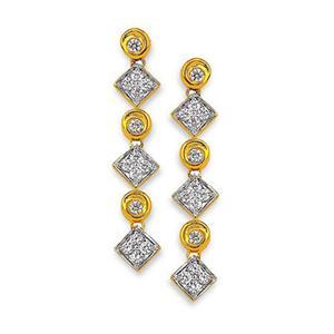 Silver Earrings-Kiara Sterling Silver Square Shape Earring KIE0002