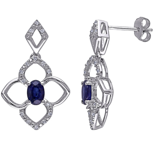 FacetzInspire Real Diamond Lab Bluesapphire 92.5 Sterling Silver Earring