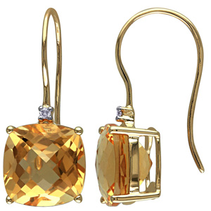 FacetzInspire Real Diamond Lab Citrine 92.5 Sterling Silver Earring