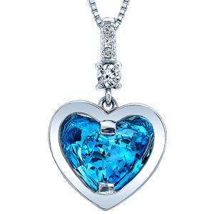 FacetzInspire Real Diamond Lab BlueTopaz 92.5 Sterling Silver Heart Pendant