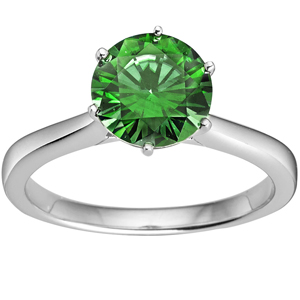 FacetzInspire Lab Emerald 92.5 Sterling Silver solitaire Ring