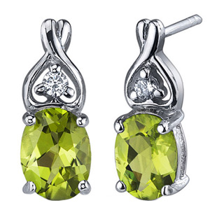 FacetzInspire Real Diamond Lab Peridot 92.5 Sterling Silver Earring