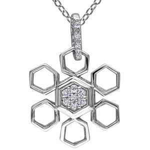 FacetzInspire Real Diamond 92.5 Sterling Silver Pendant