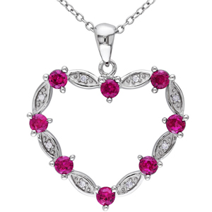 FacetzInspire Real Diamond Lab Ruby 92.5 Sterling Silver Heart Pendant