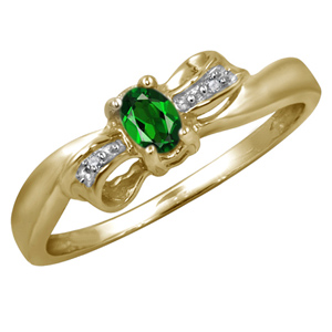 FacetzInspire Real Diamond Lab Emerald 92.5 Sterling Silver Ring