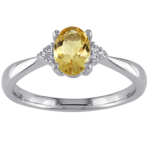 FacetzInspire Real Diamond Lab Citrine 92.5 Sterling Silver Ring