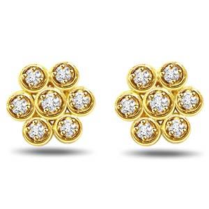 Diamond Earrings-Circle Kuda Jodi