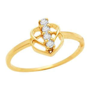 Kiara Sterling Silver Classic Four Stone Heart Shape Ring KIR0009