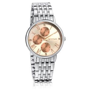 Titan Rose Gold Dial Steel Strap Women's Watch 2569KM01
