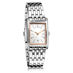 Titan White Dial Steel Strap Women's Watch 2568SM01