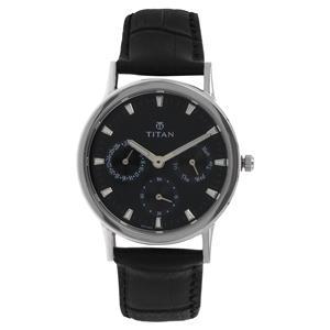 Titan Black Dial Leather Strap Women's Watch 2557SL03