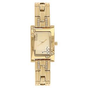 Titan Champagne Dial Brass Strap Women's Watch NH9716YM01A
