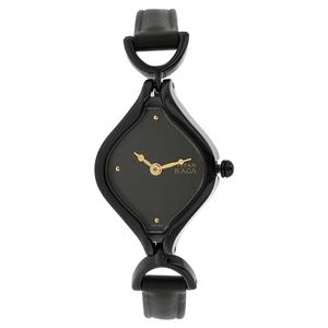 Titan Black Dial Leather Strap Women's Watch NF2531NL01