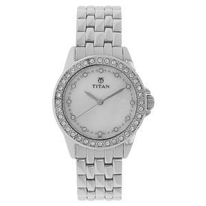 Titan White Dial Metal Strap Women's Watch NE9798SM02E