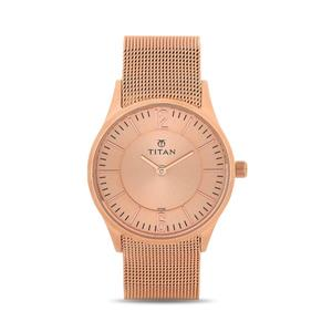 Titan Rose Gold Dial Metal Strap Women's Watch 95035WM01J