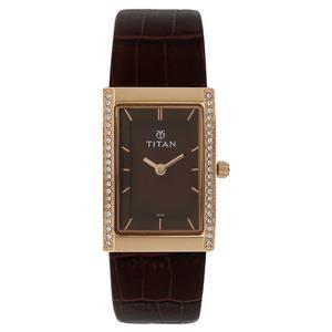 Titan Brown Dial Leather Strap Women's Watch 95034WL02J