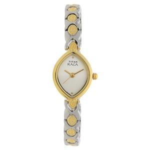Titan Silver Dial Brass Strap Women's Watch NH2250BM09