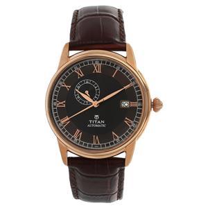 Titan Black Dial Leather Strap Men's Watch 90037WL02J