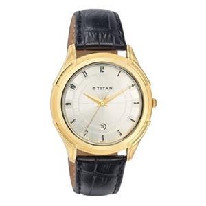 Titan Silver White Dial Leather Strap Men's Watch NE1558YL01