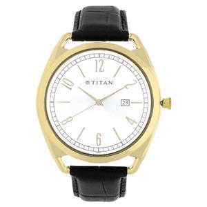 Titan Silver Dial Leather Strap Men's Watch - 1675YL01
