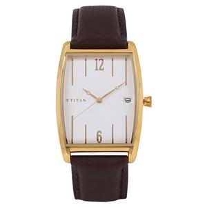 Titan White Dial Leather Strap Men's Watch - 1677YL01