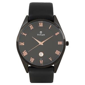 Titan Black Dial Leather Strap Men's Watch - 90054NL01J