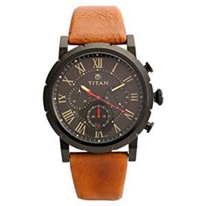 Titan Black Dial Leather Strap Men's Watch - 90050NL01J
