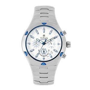 Titan Silver Dial Chronograph Men's Watch - NF9468KM01MJ