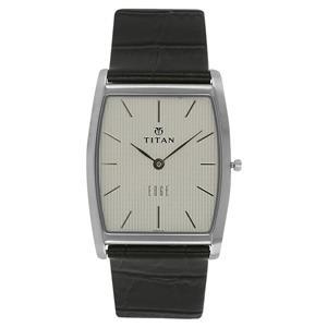 Titan Black Dial Leather Strap Men's Watch - NH1044SL01