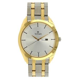 Titan Silver Dial Stainless Steel Strap Men's Watch - NH1582BM01