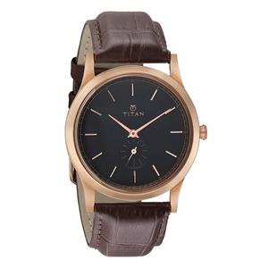 Titan Black Dial Leather Strap Men's Watch - 1674WL01