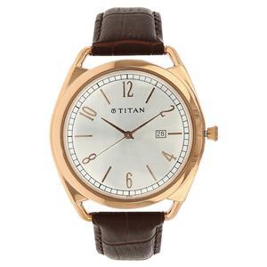 Titan Silver Dial Leather Strap Men's Watch - 1675WL01