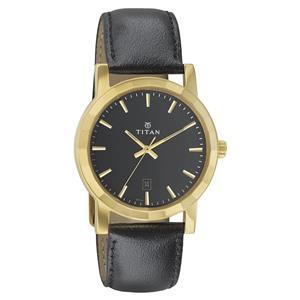 Titan Black Dial Leather Strap Men's Watch - 1703YL02