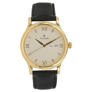 Titan White Dial Leather Strap Men's Watch - NH1580YL04