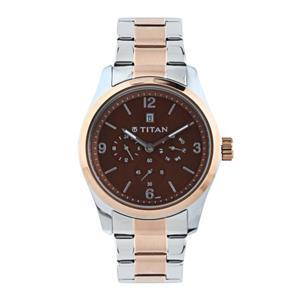 Titan Brown Dial Metal Strap Men's Watch - 9493KM01J