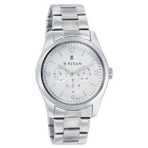 Titan Silver Dial Stainless Steel Strap Men's Watch - 9493SM01J