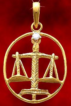 Zodiac Pendants-Libra Gold Pendant