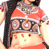 Orange and Black Block Print Effect Chaniya Choli