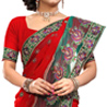 Gift Faux Georgette Red Saree on Diwali