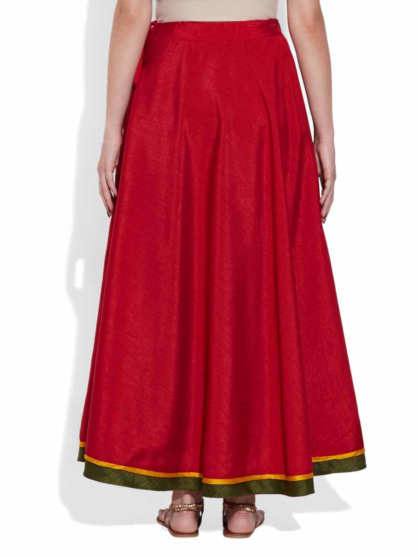 Shorts & Skirts-Faux Silk Plain Skirt