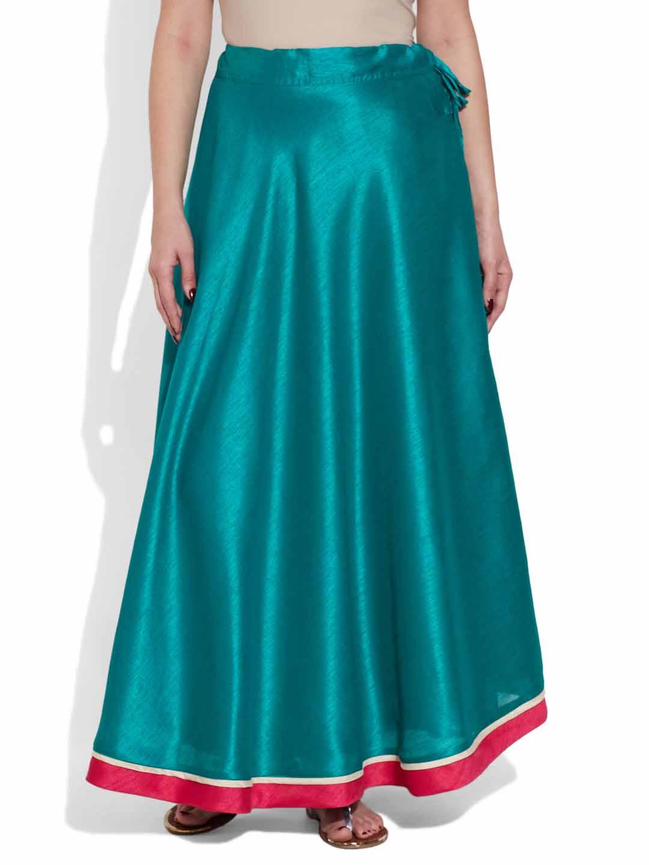 Skirts-Faux Silk Plain Skirt