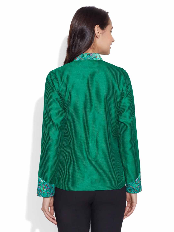 City Special Flowers-Faux Silk Short Jacket