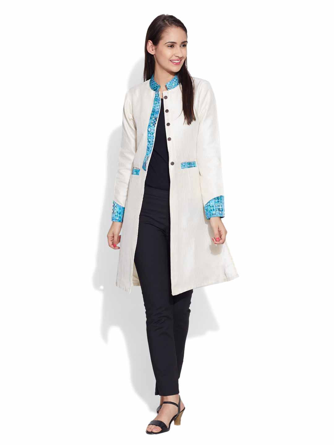 Jackets-Faux Silk Long Jacket
