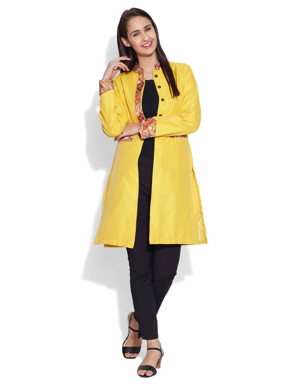 Jackets-Faux Silk Long Jacket