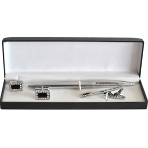Tie Pin Sets-Black Silver Diamond Studded Rectangular Tie Pin and Cufflinks Gift Set