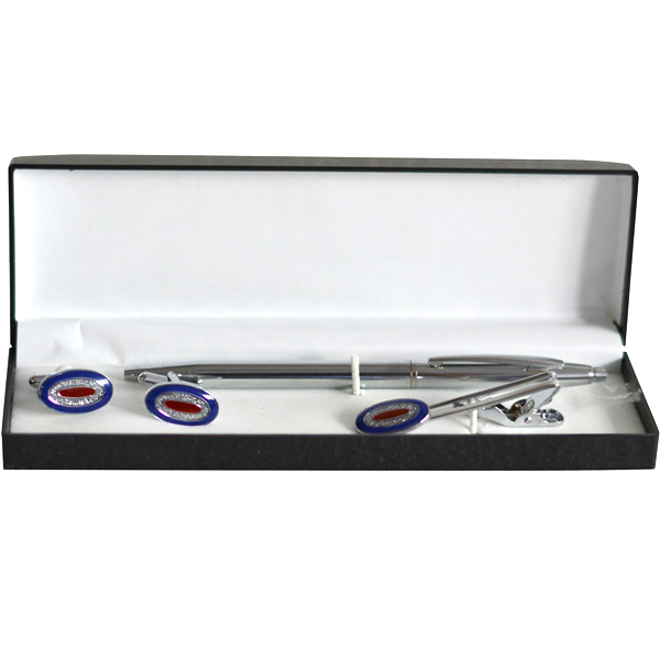 Blue Enamel Oval Silver Tie Pin and Cufflinks Gift Set
