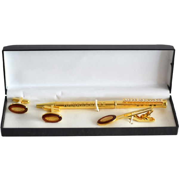 Brown Enamel Golden Oval Tie Pin and Cufflinks Gift Set